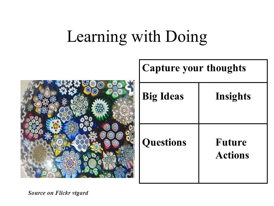 Learning with Doing Capture your thoughts Big Ideas Insights Questions Future Actions Source on Flickr vtgard