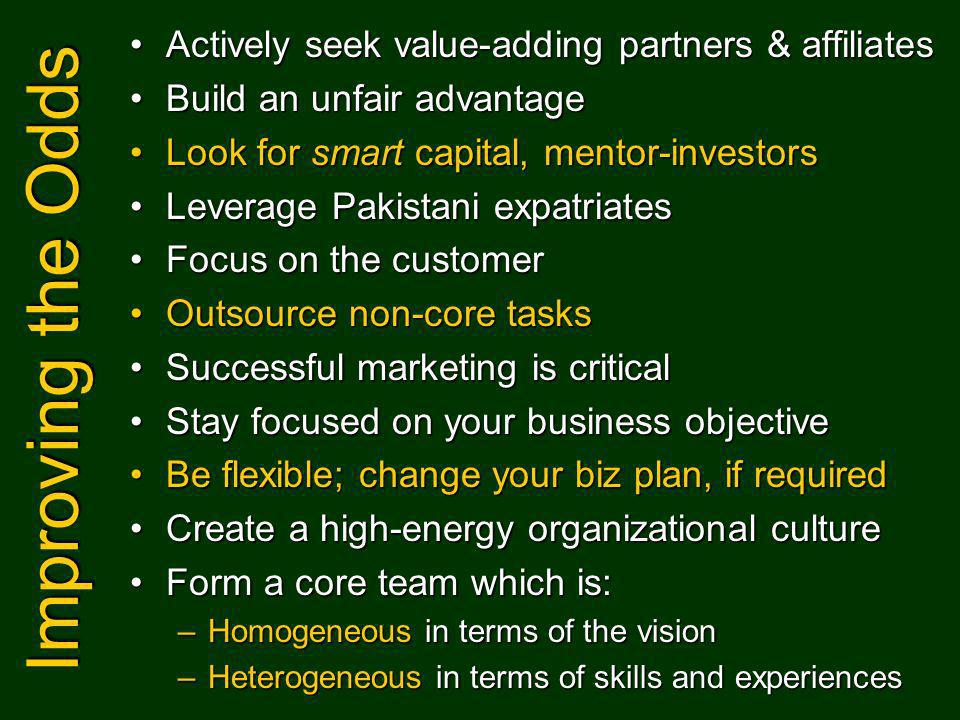 Improving the Odds Actively seek value-adding partners & affiliatesActively seek value-adding partners & affiliates Build an unfair advantageBuild an