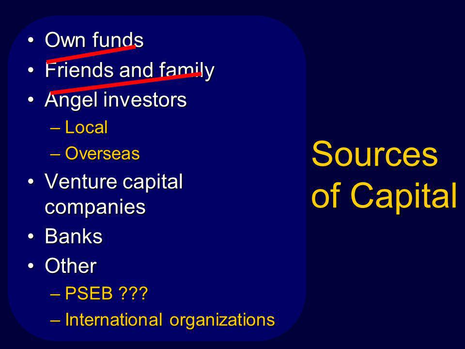 Sources of Capital Own fundsOwn funds Friends and familyFriends and family Angel investorsAngel investors –Local –Overseas Venture capital companiesVenture capital companies BanksBanks OtherOther –PSEB .