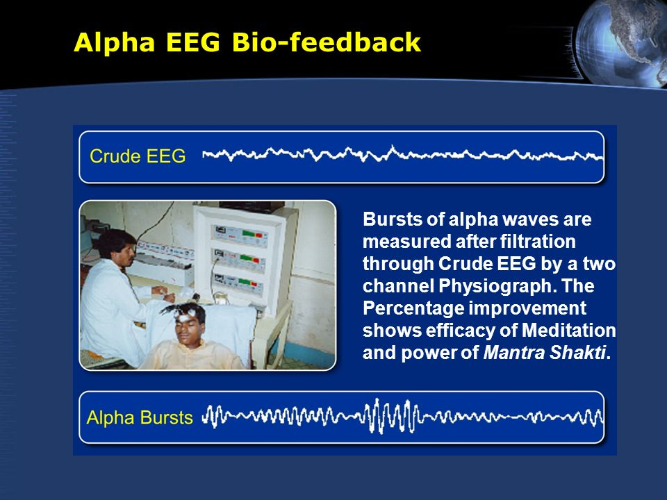 Alpha EEG Bio-feedback Bursts of alpha waves are measured after filtration through Crude EEG by a two channel Physiograph. The Percentage improvement