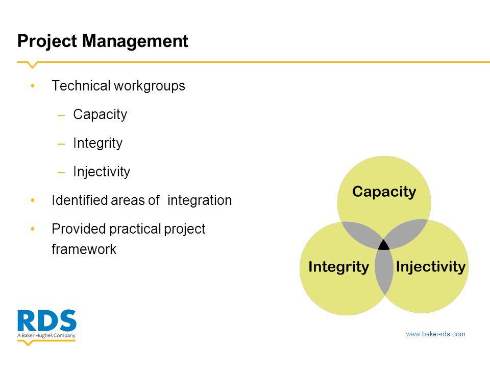 www.baker-rds.com Project Management Technical workgroups –Capacity –Integrity –Injectivity Identified areas of integration Provided practical project framework