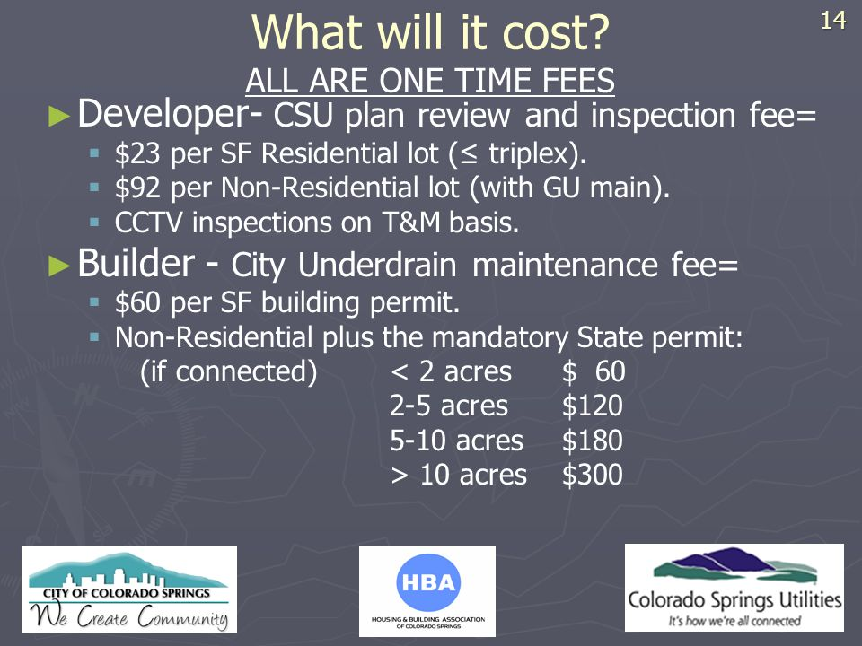 HBA LOGO What will it cost? ALL ARE ONE TIME FEES Developer- CSU plan review and inspection fee= $23 per SF Residential lot ( triplex). $92 per Non-Re