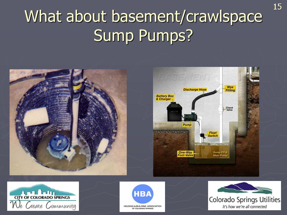 HBA LOGO What about basement/crawlspace Sump Pumps? 15