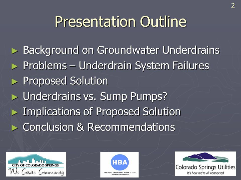 HBA LOGO Presentation Outline Background on Groundwater Underdrains Background on Groundwater Underdrains Problems – Underdrain System Failures Proble