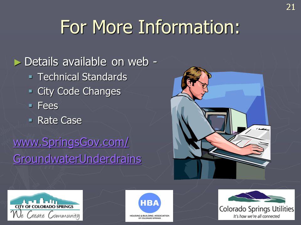 HBA LOGO For More Information: Details available on web - Details available on web - Technical Standards Technical Standards City Code Changes City Co