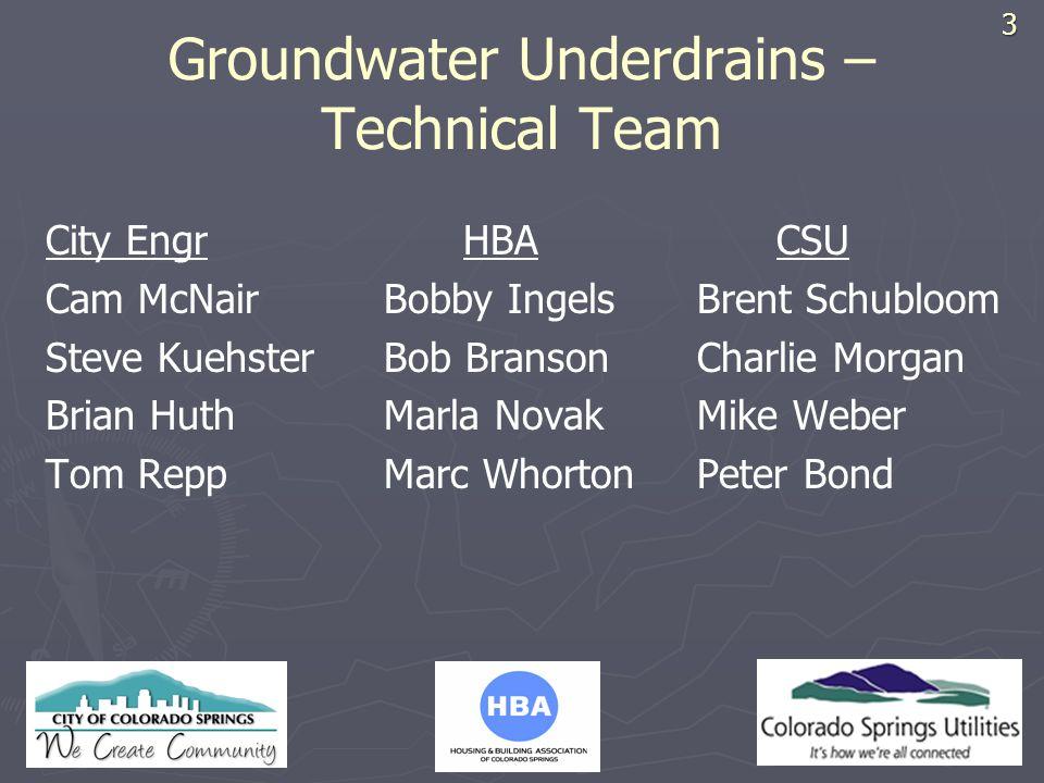 HBA LOGO Groundwater Underdrains – Technical Team City EngrHBACSU Cam McNair Bobby Ingels Brent Schubloom Steve Kuehster Bob Branson Charlie Morgan Br