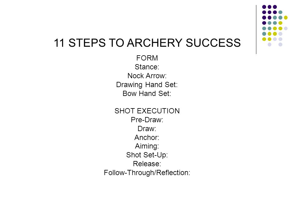 FORM Stance: Nock Arrow: Drawing Hand Set: Bow Hand Set: SHOT EXECUTION Pre-Draw: Draw: Anchor: Aiming: Shot Set-Up: Release: Follow-Through/Reflectio