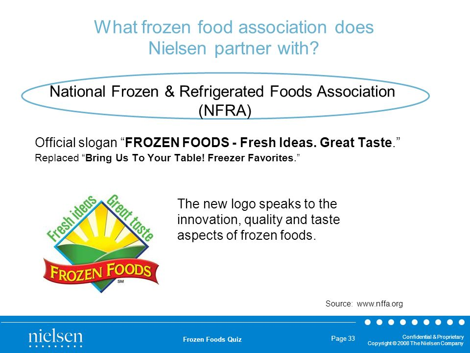 Confidential & Proprietary Copyright © 2008 The Nielsen Company Frozen Foods Quiz Page 33 What frozen food association does Nielsen partner with? Offi
