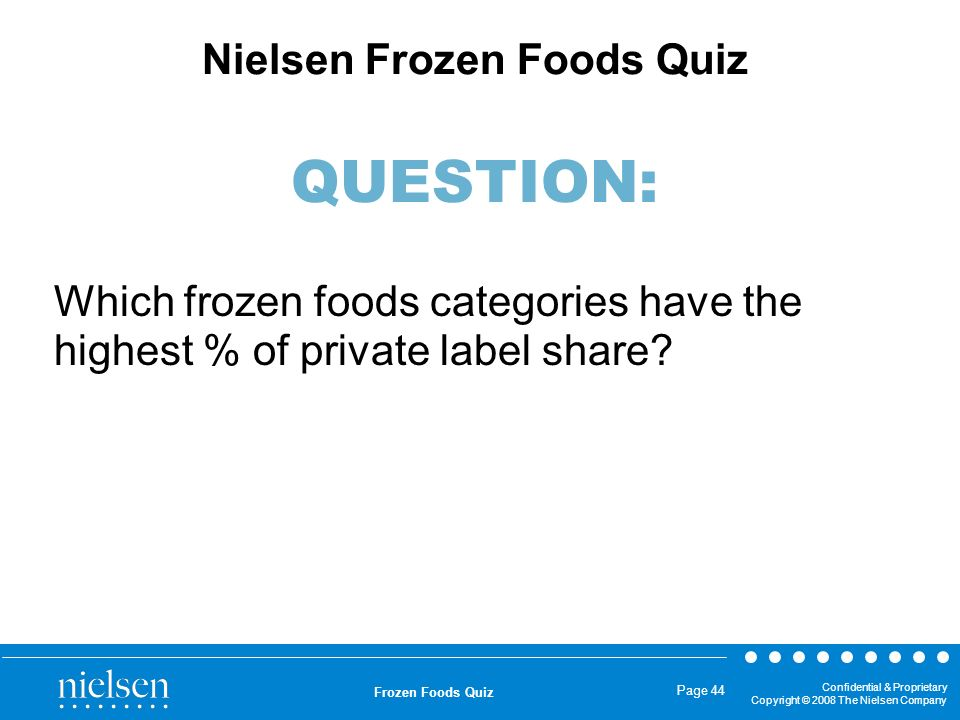 Confidential & Proprietary Copyright © 2008 The Nielsen Company Frozen Foods Quiz Page 44 Which frozen foods categories have the highest % of private
