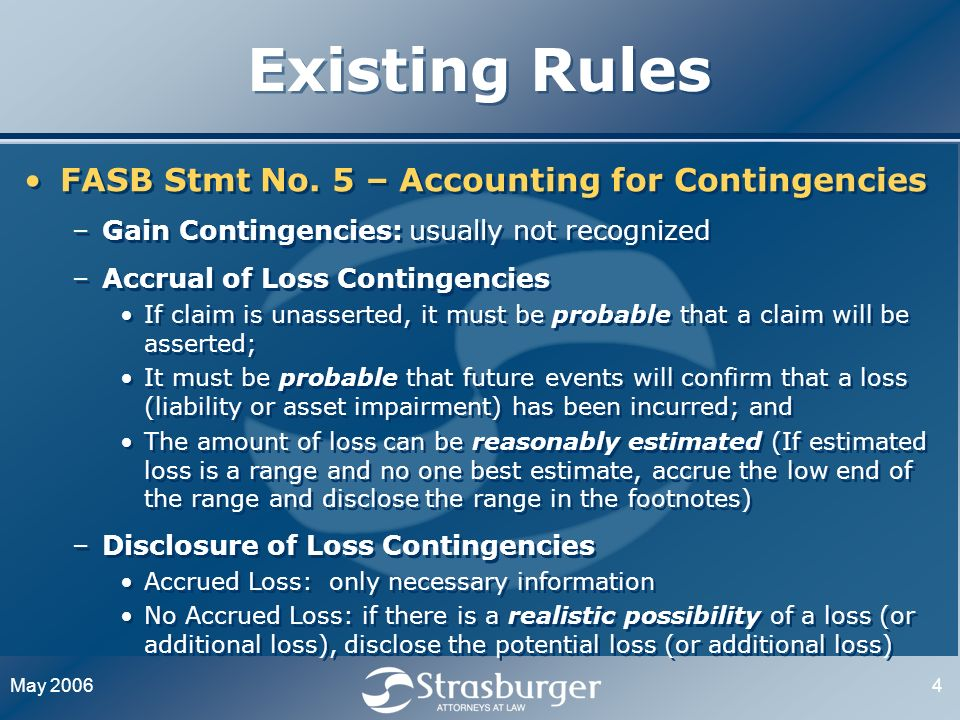 May 20064 Existing Rules FASB Stmt No.