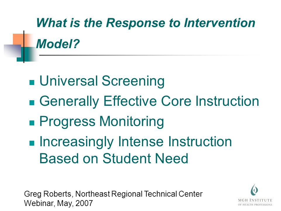 What is the Response to Intervention Model.