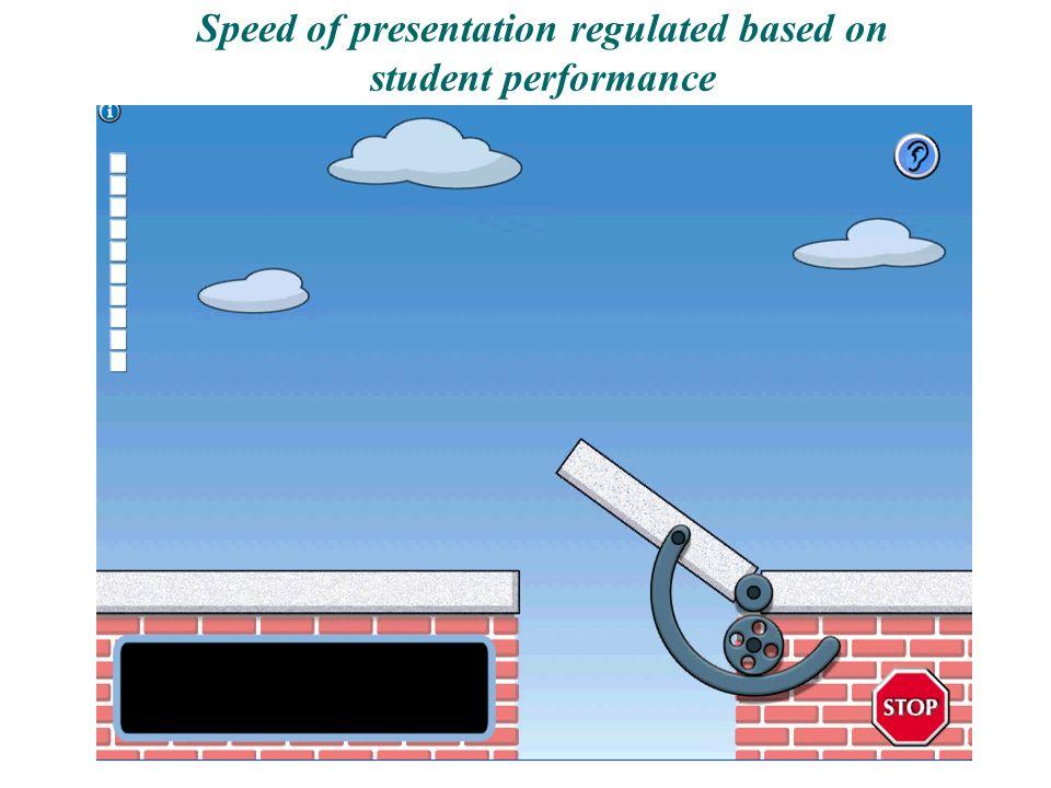 Speed of presentation regulated based on student performance