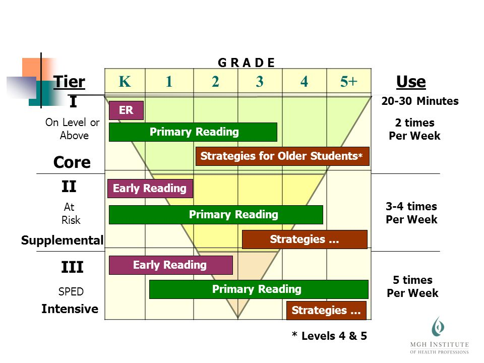 K12345+ I On Level or Above II At Risk III SPED Tier 2 times Per Week 3-4 times Per Week 5 times Per Week G R A D E ER Primary Reading Strategies for Older Students * Early Reading Primary Reading Strategies … Early Reading Primary Reading Strategies … Use 20-30 Minutes * Levels 4 & 5 Core Supplemental Intensive
