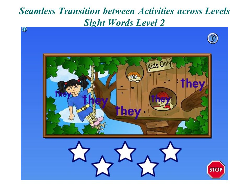 Seamless Transition between Activities across Levels Sight Words Level 2