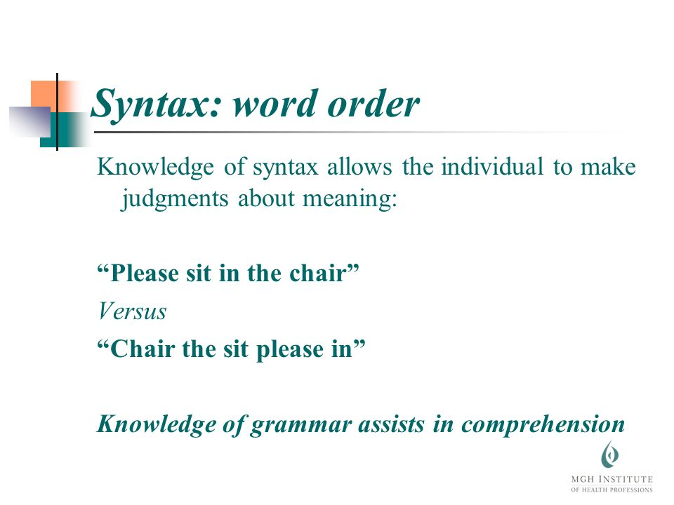 Syntax: word order Knowledge of syntax allows the individual to make judgments about meaning: Please sit in the chair Versus Chair the sit please in Knowledge of grammar assists in comprehension