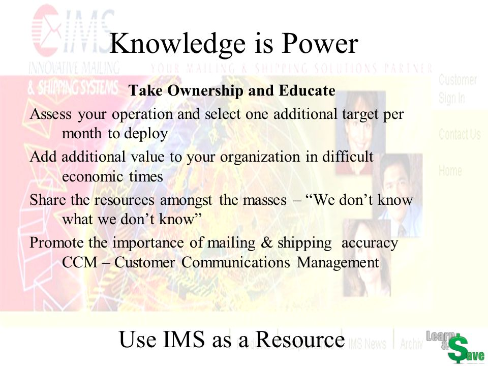 Knowledge is Power Take Ownership and Educate Assess your operation and select one additional target per month to deploy Add additional value to your