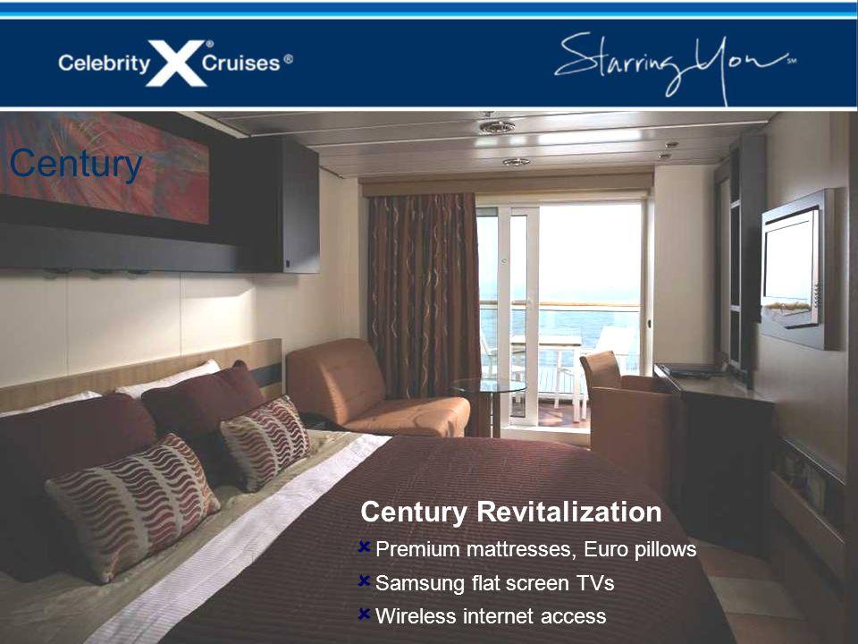 Century Revitalization Premium mattresses, Euro pillows Samsung flat screen TVs Wireless internet access Century