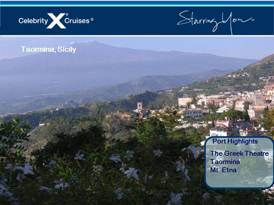 Taormina, Sicily Port Highlights The Greek Theatre Taormina Mt. Etna