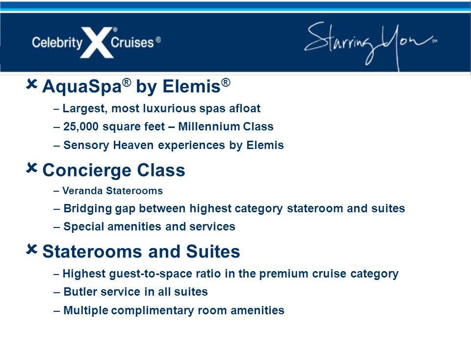 AquaSpa ® by Elemis ® – Largest, most luxurious spas afloat – 25,000 square feet – Millennium Class – Sensory Heaven experiences by Elemis Concierge C