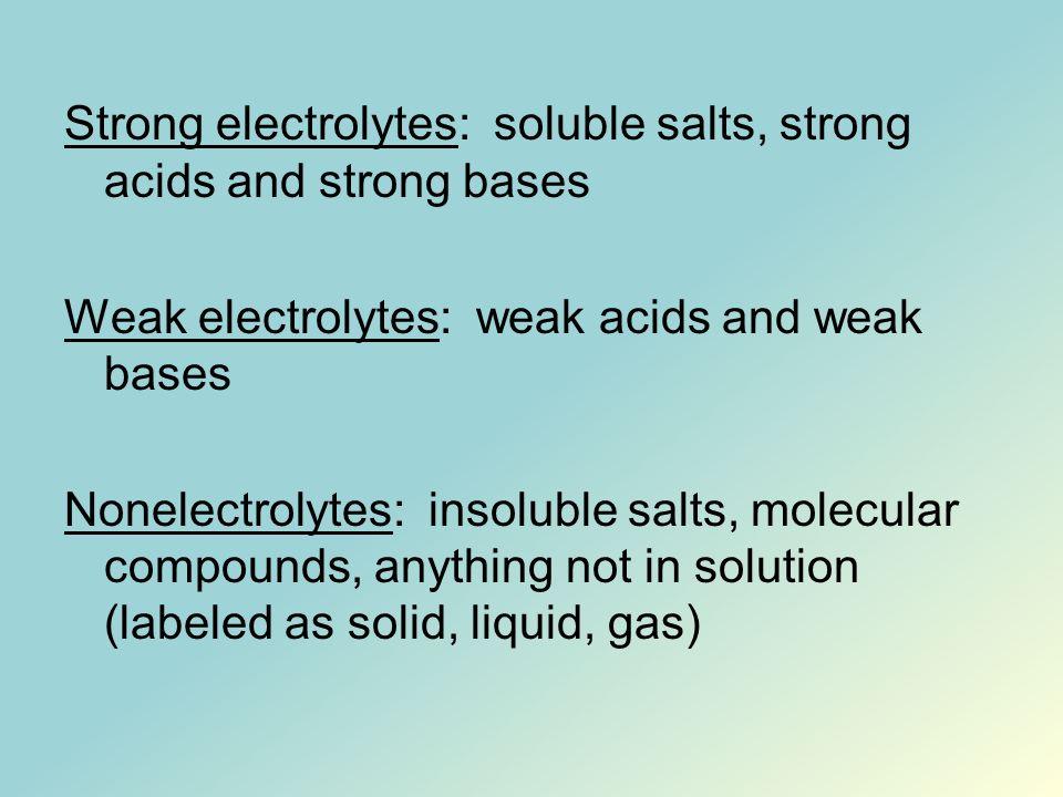 Strong electrolytes: soluble salts, strong acids and strong bases Weak electrolytes: weak acids and weak bases Nonelectrolytes: insoluble salts, molec