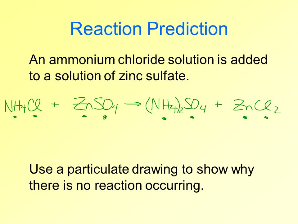 An ammonium chloride solution is added to a solution of zinc sulfate. Reaction Prediction Use a particulate drawing to show why there is no reaction o