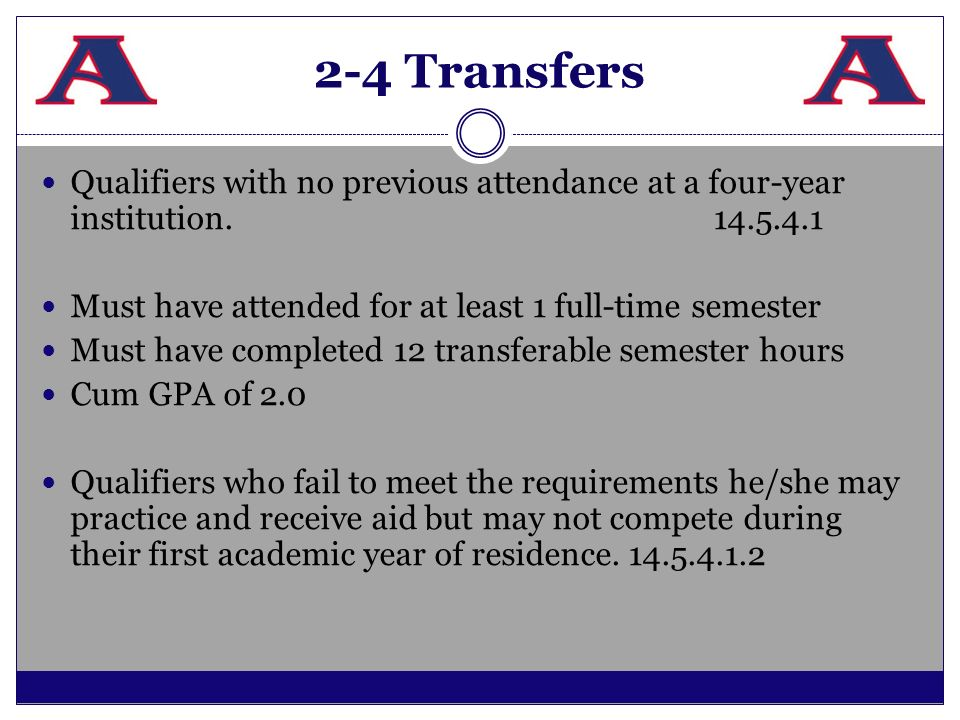 2-4 Transfers Qualifiers with no previous attendance at a four-year institution.14.5.4.1 Must have attended for at least 1 full-time semester Must hav