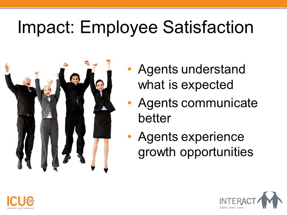 Impact: Employee Satisfaction Agents understand what is expected Agents communicate better Agents experience growth opportunities