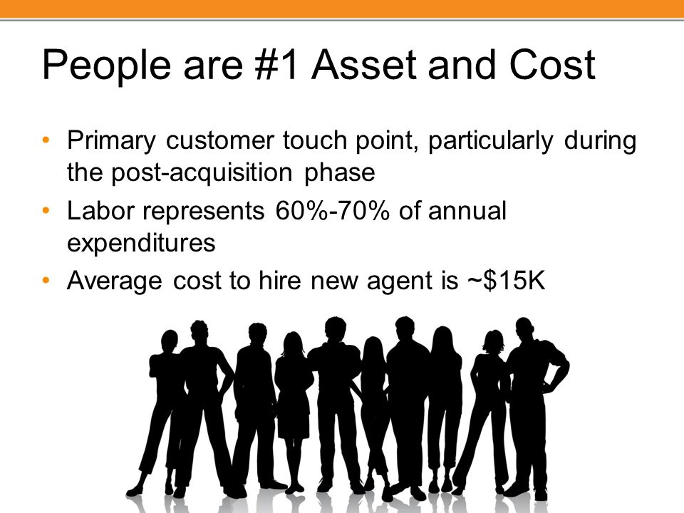 People are #1 Asset and Cost Primary customer touch point, particularly during the post-acquisition phase Labor represents 60%-70% of annual expenditu