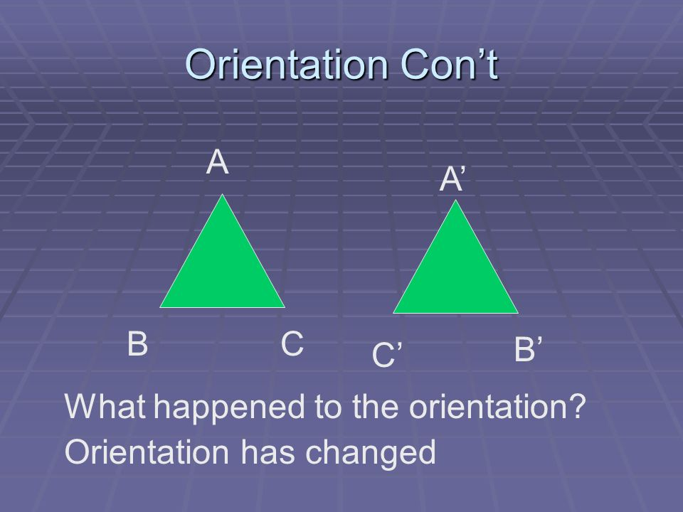 Orientation Cont A B C CB What happened to the orientation? Orientation has changed A