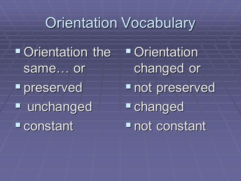 Orientation Vocabulary Orientation the same… or Orientation the same… or preserved preserved unchanged unchanged constant constant Orientation changed