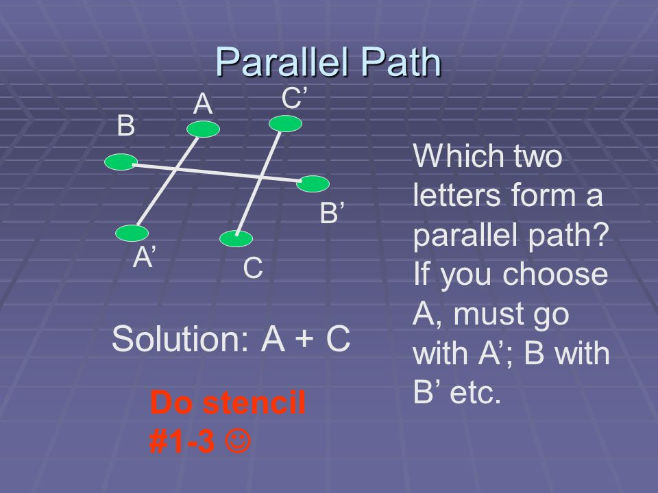Parallel Path A B C A C B Which two letters form a parallel path? If you choose A, must go with A; B with B etc. Solution: A + C Do stencil #1-3