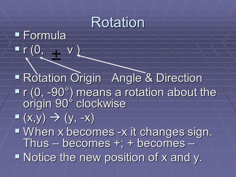 Rotation Formula Formula r (0, v ) r (0, v ) Rotation Origin Angle & Direction Rotation Origin Angle & Direction r (0, -90°) means a rotation about th