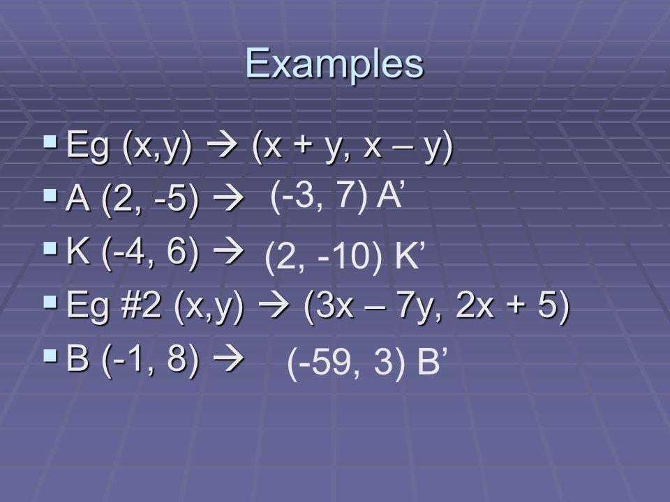 Examples Eg (x,y) (x + y, x – y) Eg (x,y) (x + y, x – y) A (2, -5) A (2, -5) K (-4, 6) K (-4, 6) Eg #2 (x,y) (3x – 7y, 2x + 5) Eg #2 (x,y) (3x – 7y, 2