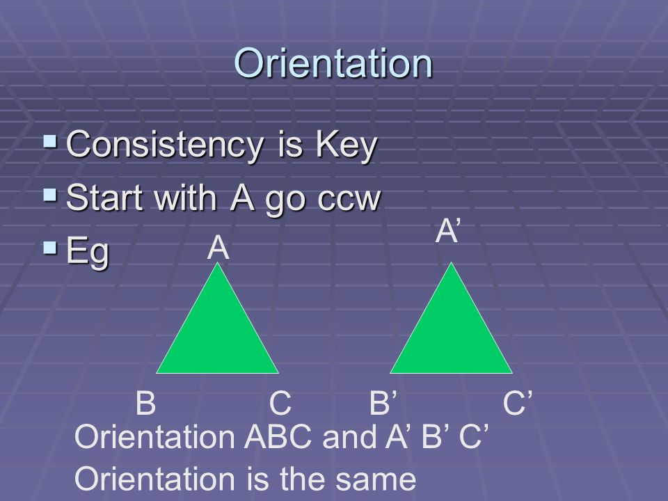 Orientation Consistency is Key Consistency is Key Start with A go ccw Start with A go ccw Eg Eg A CBCB Orientation ABC and A B C Orientation is the sa
