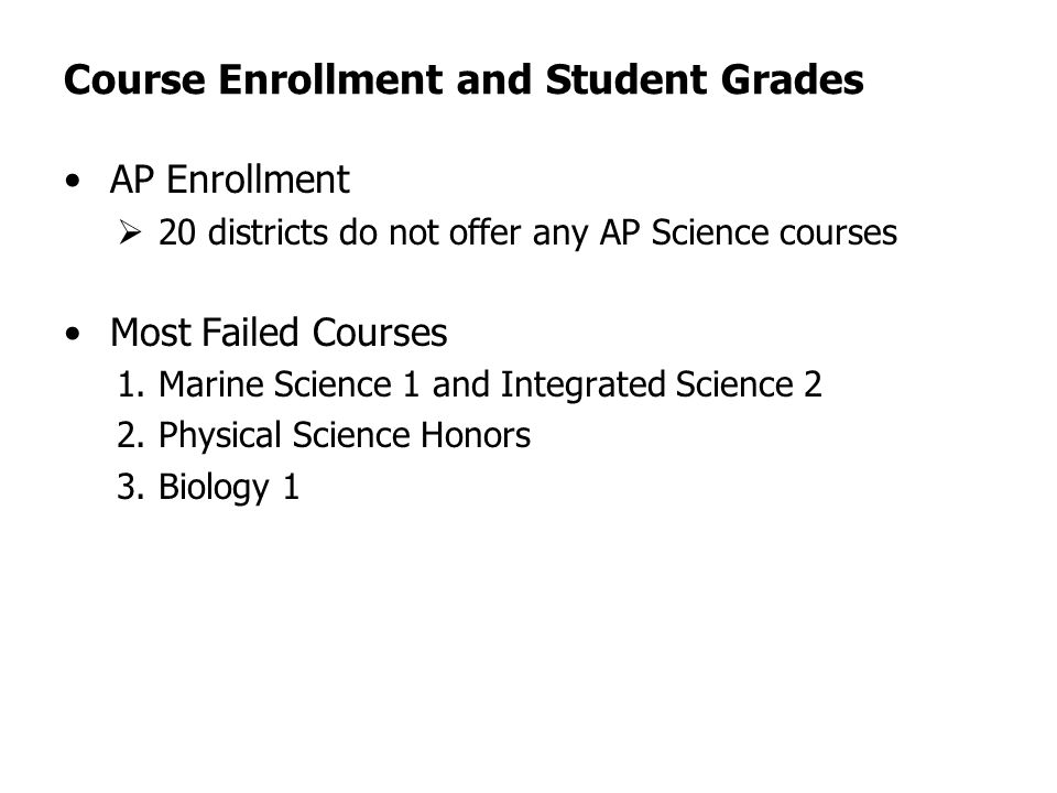 Course Enrollment and Student Grades AP Enrollment 20 districts do not offer any AP Science courses Most Failed Courses 1.Marine Science 1 and Integrated Science 2 2.Physical Science Honors 3.Biology 1