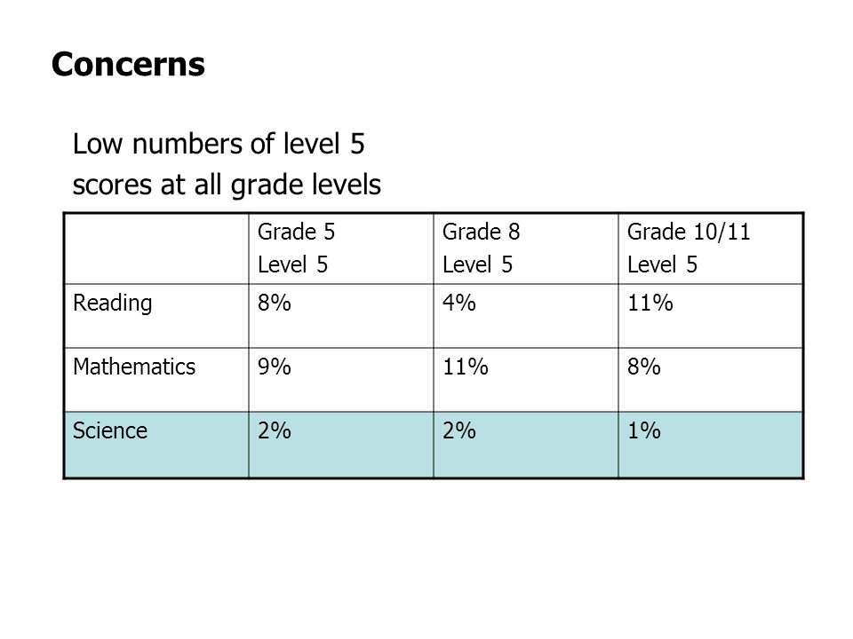 Concerns Low numbers of level 5 scores at all grade levels Grade 5 Level 5 Grade 8 Level 5 Grade 10/11 Level 5 Reading8%4%11% Mathematics9%11%8% Science2% 1%