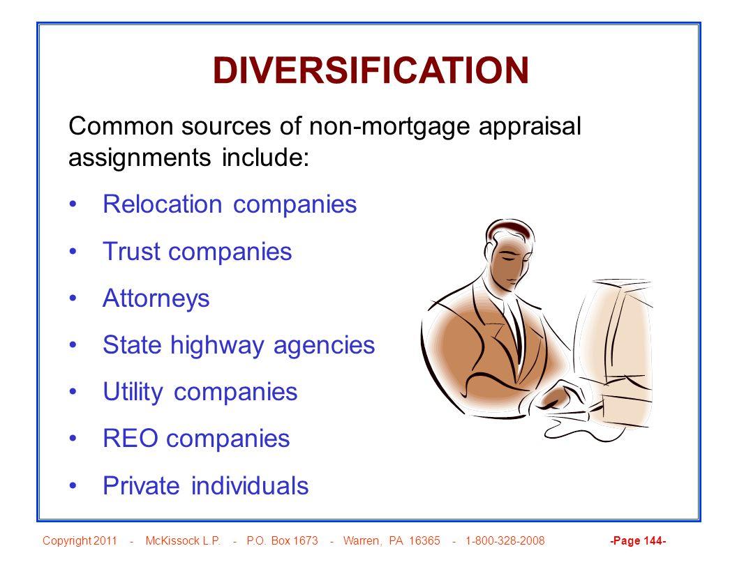 Copyright 2011 - McKissock L.P. - P.O. Box 1673 - Warren, PA 16365 - 1-800-328-2008 -Page 144- DIVERSIFICATION Common sources of non-mortgage appraisa