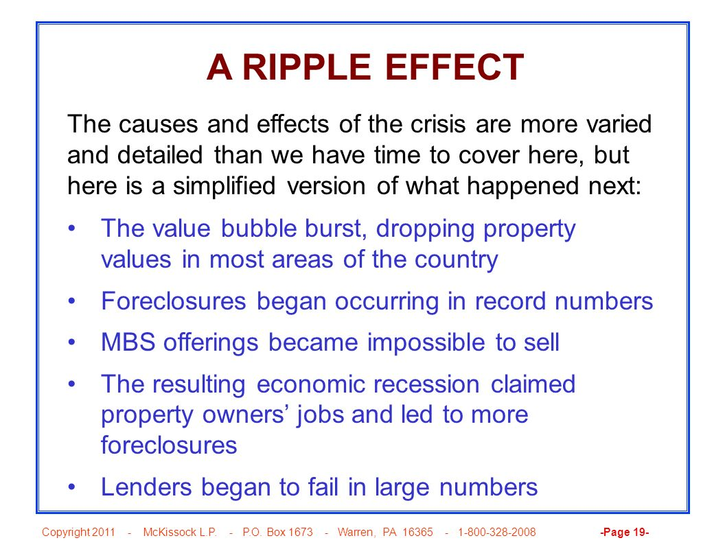 Copyright 2011 - McKissock L.P. - P.O. Box 1673 - Warren, PA 16365 - 1-800-328-2008 -Page 19- A RIPPLE EFFECT The causes and effects of the crisis are