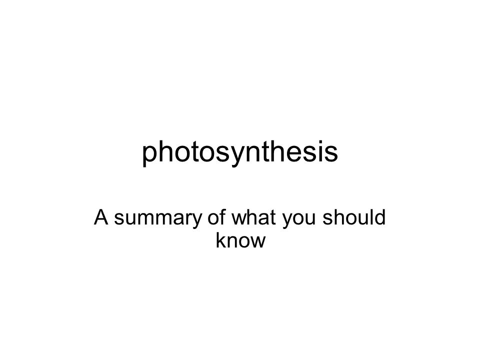 photosynthesis A summary of what you should know