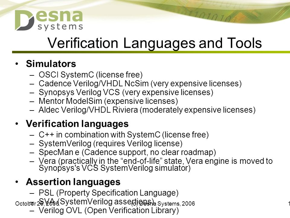 October 26, 2006(c) Desna Systems, 200612 Verification Languages and Tools Simulators –OSCI SystemC (license free) –Cadence Verilog/VHDL NcSim (very e