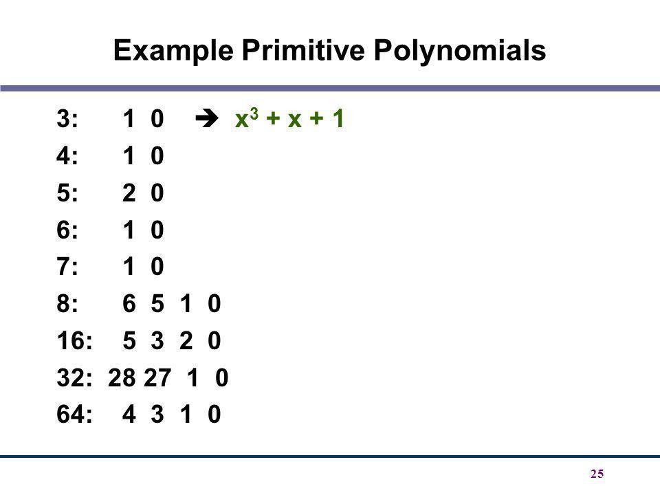 25 Example Primitive Polynomials 3: 1 0 x 3 + x + 1 4: 1 0 5: 2 0 6: 1 0 7: 1 0 8: 6 5 1 0 16: 5 3 2 0 32: 28 27 1 0 64: 4 3 1 0