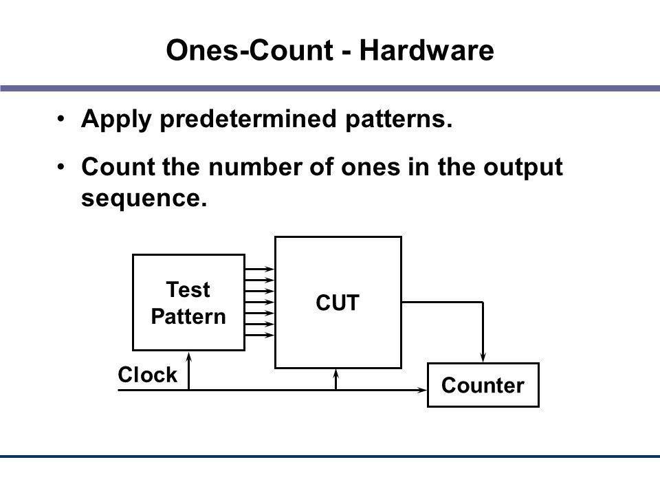 Ones-Count - Hardware Apply predetermined patterns. Count the number of ones in the output sequence. Test Pattern CUT Counter Clock