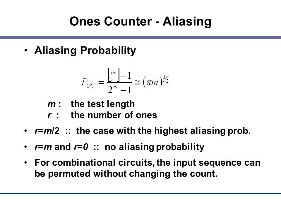 Ones Counter - Aliasing Aliasing Probability m :the test length r :the number of ones r=m/2 :: the case with the highest aliasing prob. r=m and r=0 ::