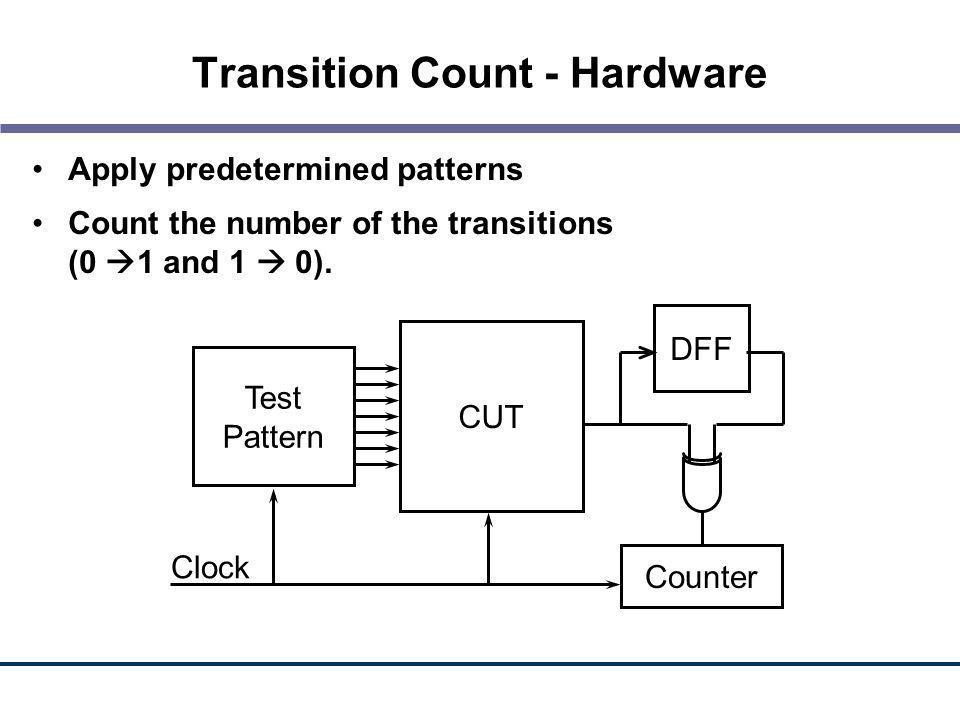 Transition Count - Hardware Apply predetermined patterns Count the number of the transitions (0 1 and 1 0). Test Pattern CUT Counter Clock DFF