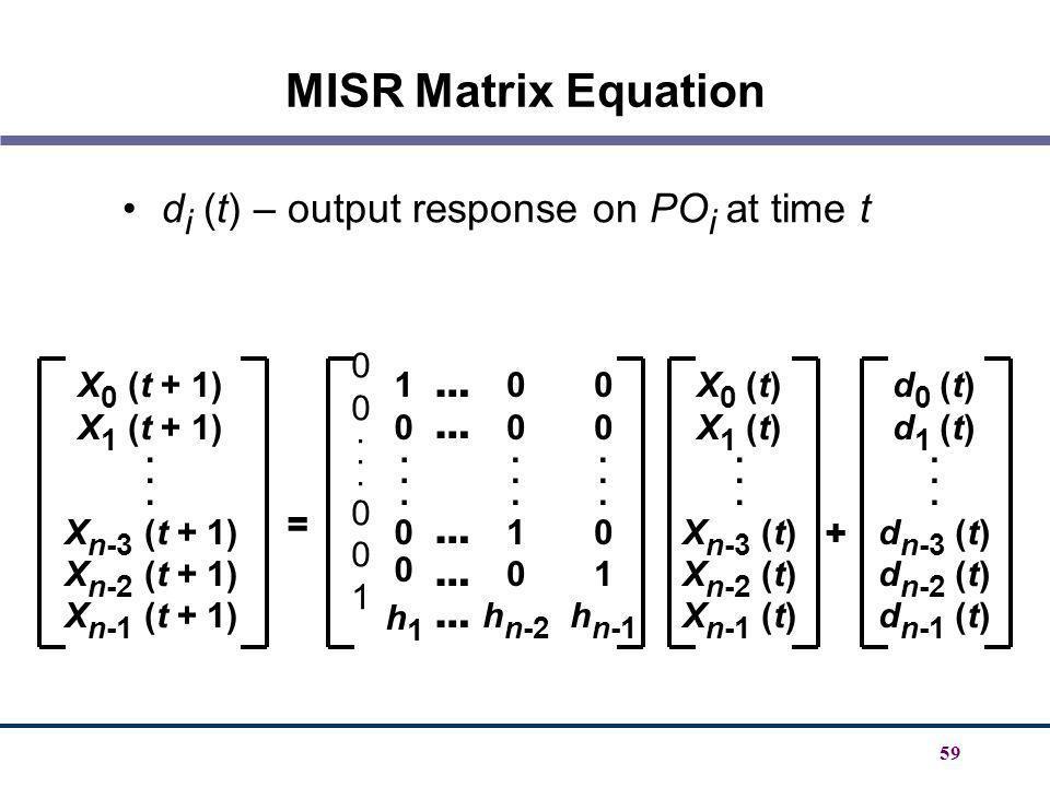 59 MISR Matrix Equation d i (t) – output response on PO i at time t X 0 (t + 1) X 1 (t + 1). X n-3 (t + 1) X n-2 (t + 1) X n-1 (t + 1) 10...00h110...0
