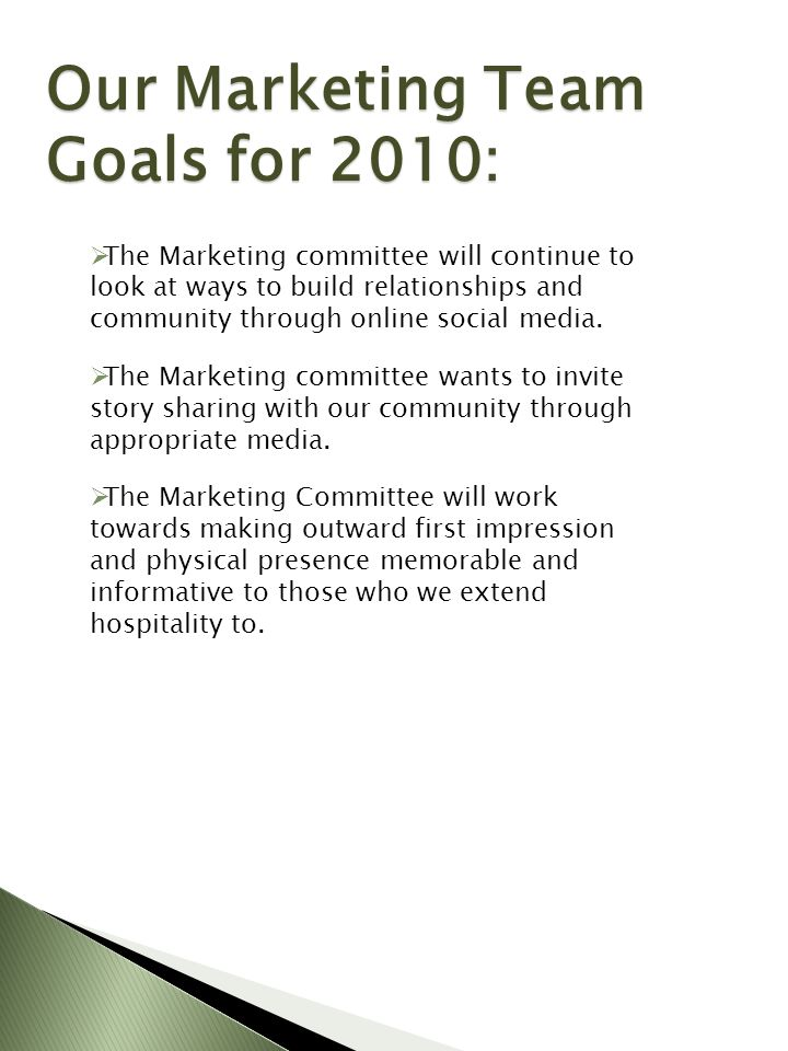 Our Marketing Team Goals for 2010: The Marketing committee will continue to look at ways to build relationships and community through online social media.