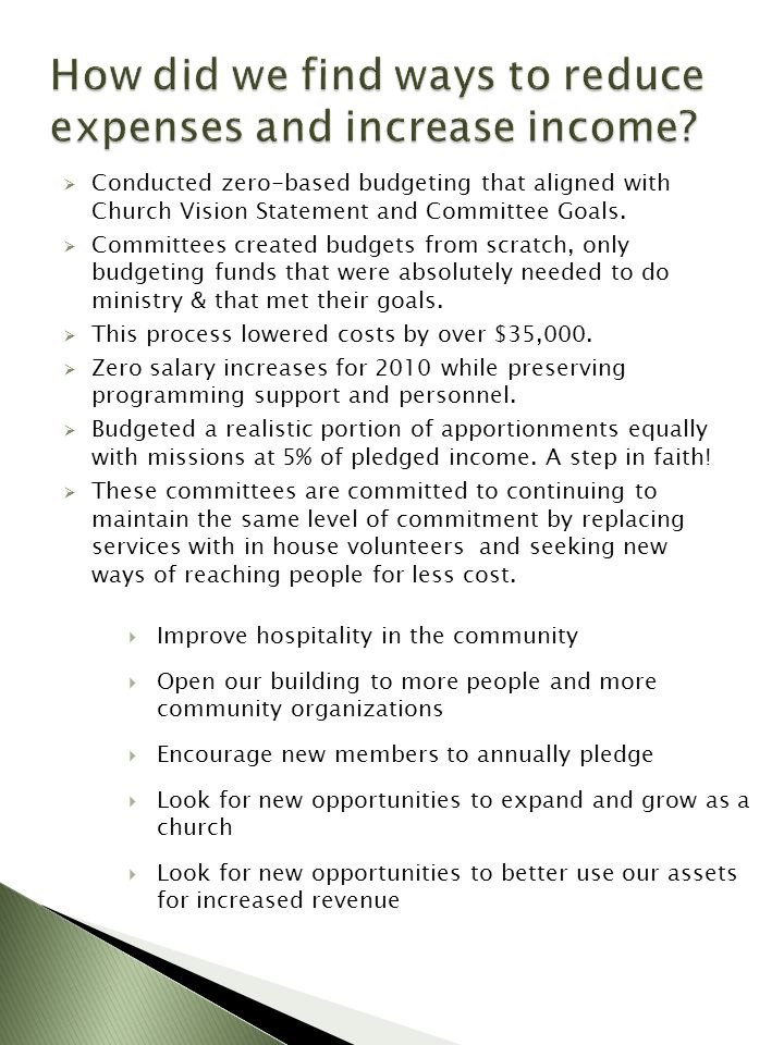 Conducted zero-based budgeting that aligned with Church Vision Statement and Committee Goals. Committees created budgets from scratch, only budgeting