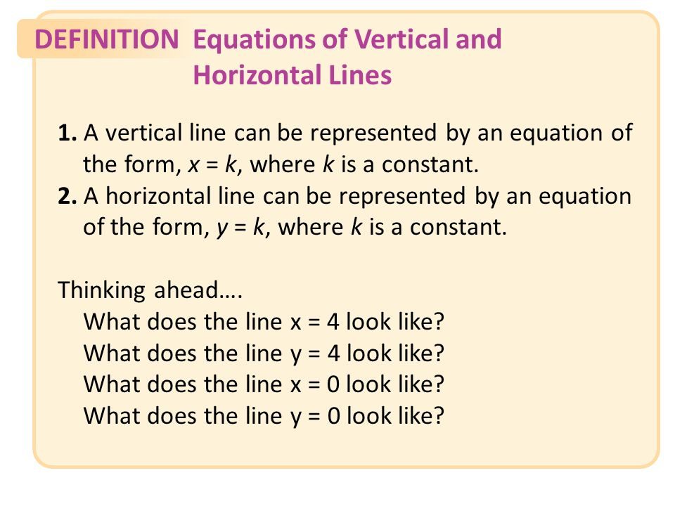 DEFINITIONEquations of Vertical and Horizontal Lines Slide 19 Copyright (c) The McGraw-Hill Companies, Inc.