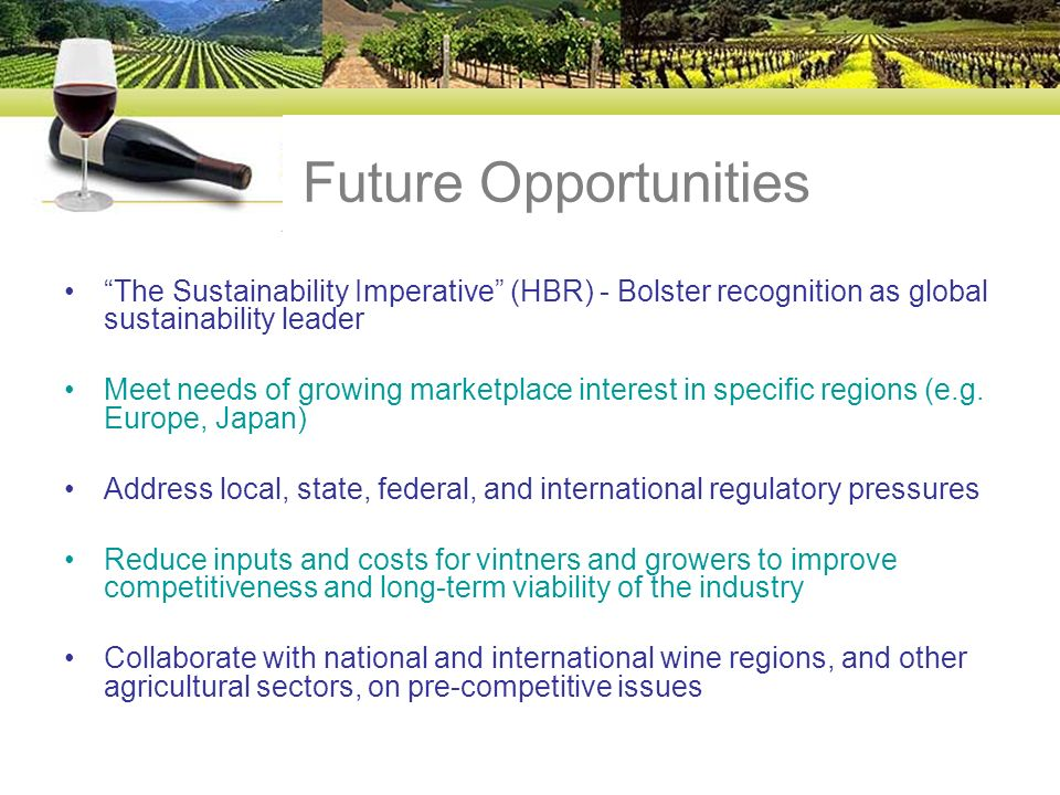 Future Opportunities The Sustainability Imperative (HBR) - Bolster recognition as global sustainability leader Meet needs of growing marketplace inter