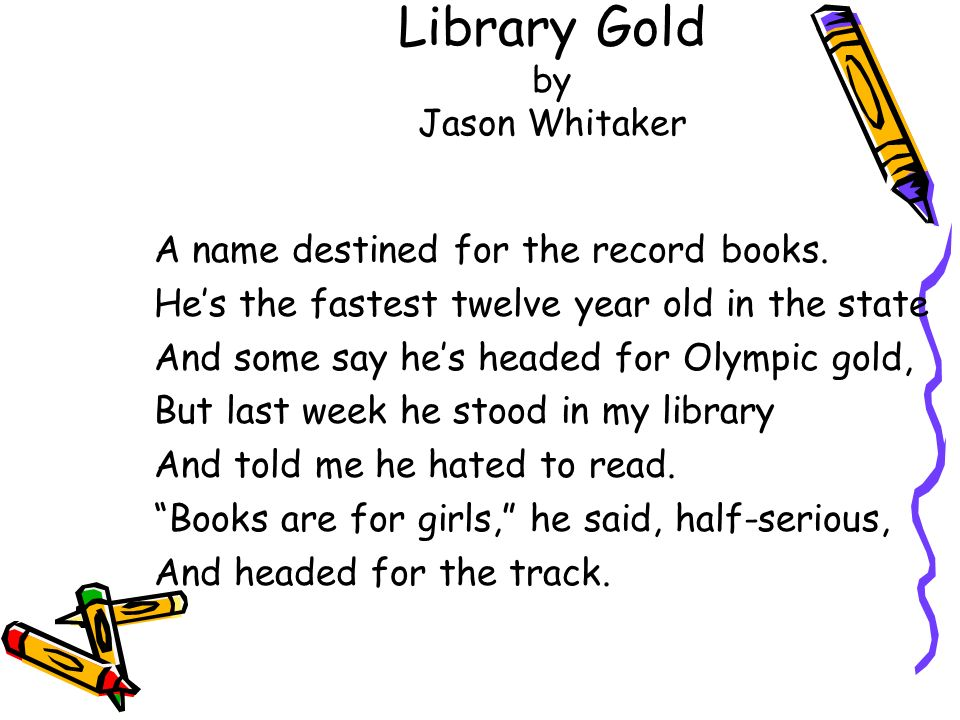 Library Gold by Jason Whitaker A name destined for the record books. Hes the fastest twelve year old in the state And some say hes headed for Olympic